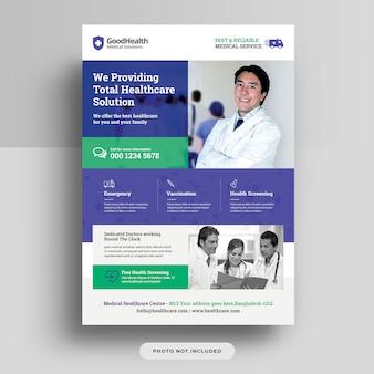 Disegno del modello di volantino medico e sanitario