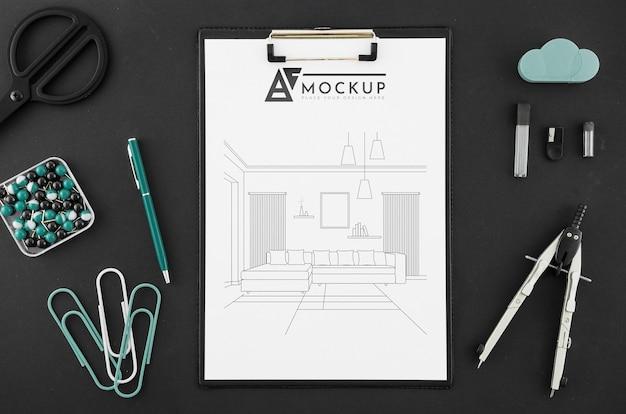 Disegno di architettura vista dall'alto con mock-up