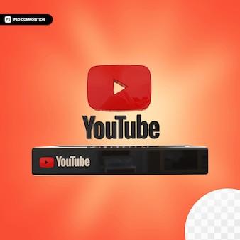 Diseño 3d aislado del logotipo de youtube brillante