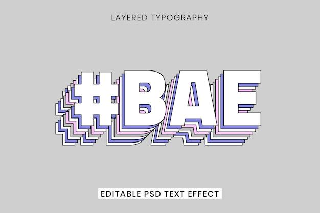 Diseño 3d de efecto de texto hermoso en capas