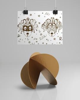 Diseño abstracto de vista frontal con bocetos de máscara