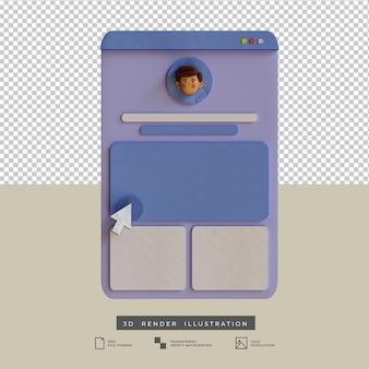 Diseño de aplicación de perfil de redes sociales de estilo clay con ilustración 3d de cursor blanco