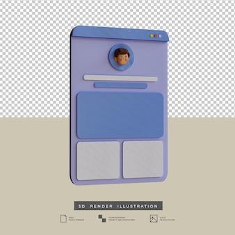 Diseño de aplicaciones de perfil de redes sociales de estilo arcilla vista lateral ilustración 3d aislado