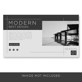 Diseño de arquitectura moderna de banner con plantilla de diseño negro y limpio