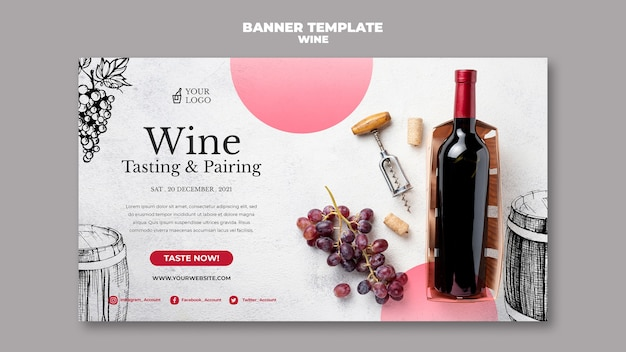 Diseño de banner de cata de vinos.