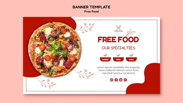 Diseño de banner de comida gratis