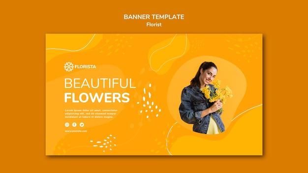 Diseño de banner de concepto de floristería