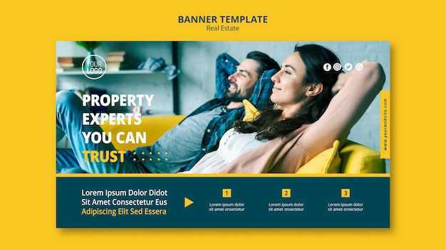 Diseño de banner de concepto inmobiliario