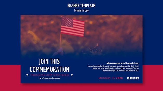 Diseño de banner del día de los caídos