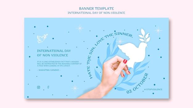 Diseño de banner del día internacional de la no violencia.
