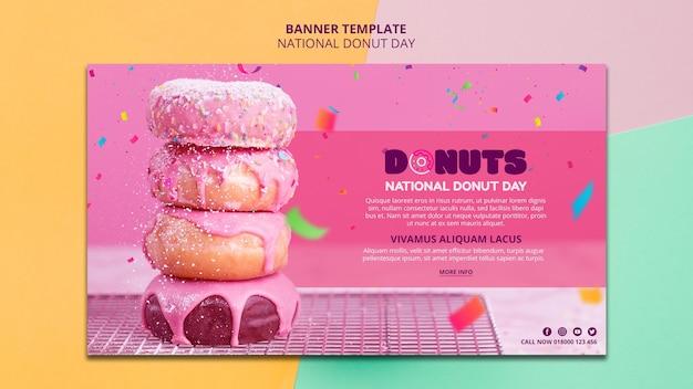 Diseño de banner del día nacional del donut