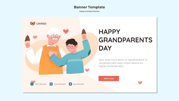 Diseño de banner de feliz día de los abuelos