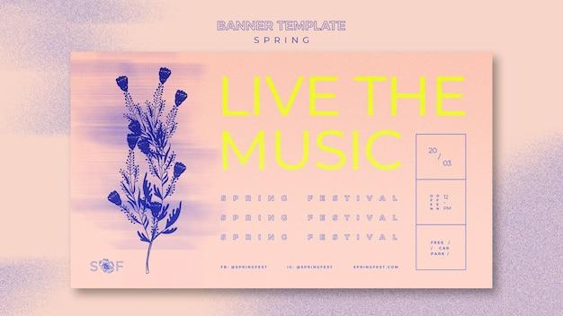 Diseño de banner de festival de música de primavera
