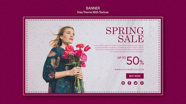 Diseño de banner horizontal de venta de primavera