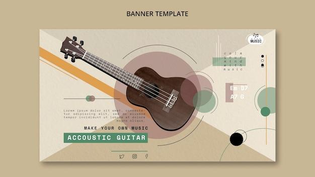 Diseño de banner de lecciones de guitarra acústica
