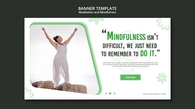 Diseño de banner de meditación y atención plena.