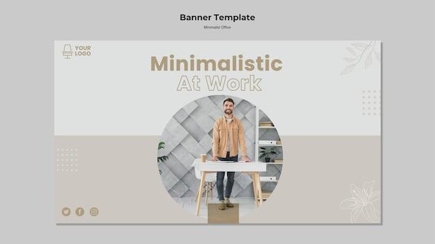 Diseño de banner de oficina minimalista.