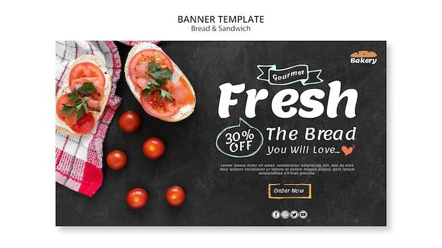 Diseño de banner de pan y sándwich.