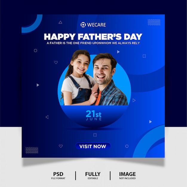 Diseño de banner de publicación de redes sociales de color azul del día del padre