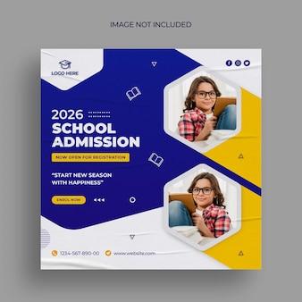 Diseño de banner de redes sociales de admisión a la escuela.