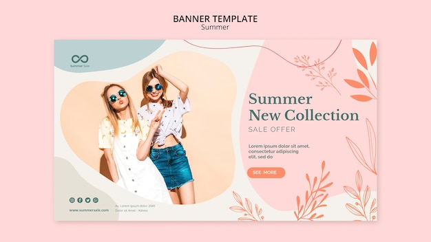 Diseño de banner de venta de colección de verano