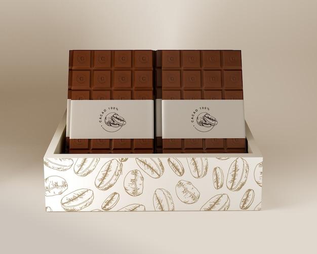 Diseño de caja de chocolate y envoltura de papel