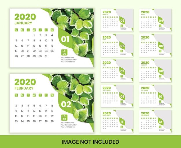 Diseño de calendario de escritorio 2020, listo para imprimir