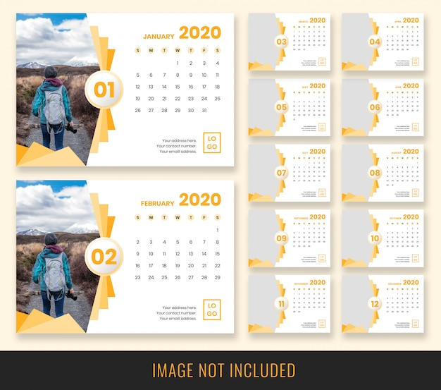 Diseño de calendario de escritorio 2020