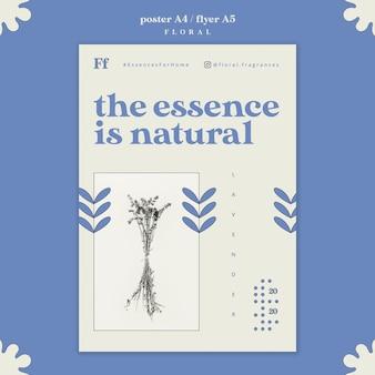 Diseño de cartel de esencia floral.