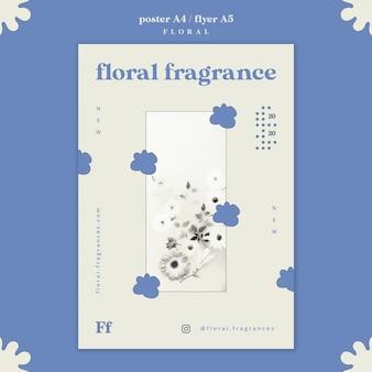 Diseño de cartel de fragancia floral.