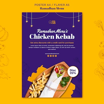 Diseño de cartel de menú ramadahn