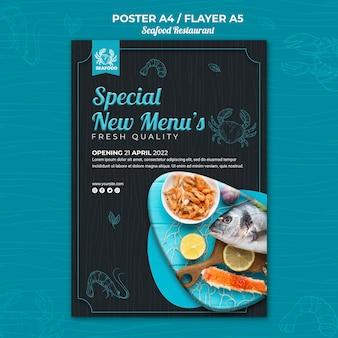 Diseño de cartel de restaurante de mariscos.