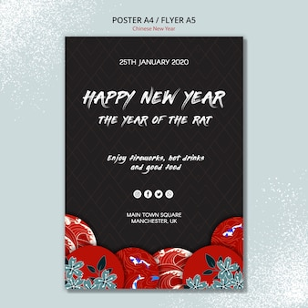 Diseño de carteles de año nuevo chino para plantilla
