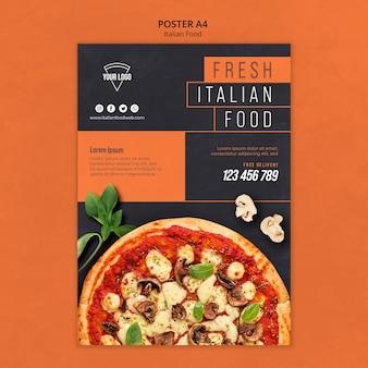 Diseño de carteles de comida italiana.