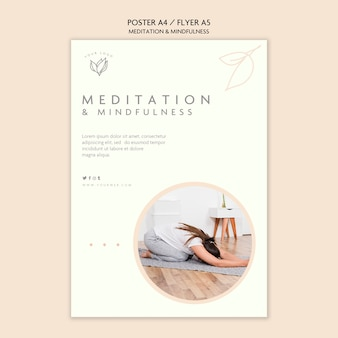 Diseño de carteles de meditación y mindfulness.