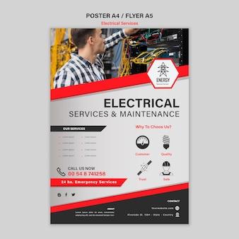 Diseño de carteles de servicios eléctricos.