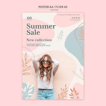 Diseño de carteles de venta de colección de verano