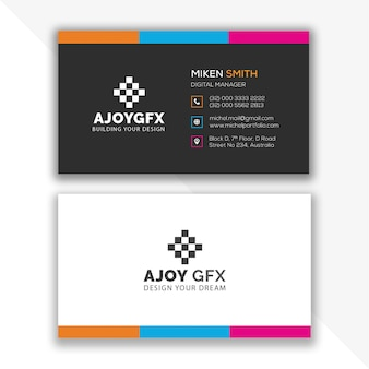 Diseño colorido de la tarjeta de visita