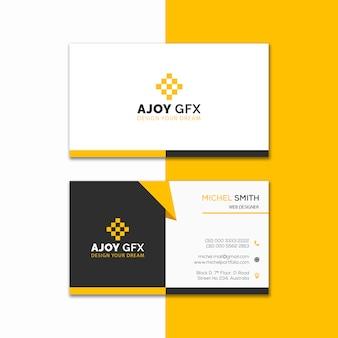 Diseño creativo amarillo de la tarjeta de visita