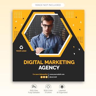 Diseño cuadrado para agencia de marketing digital.