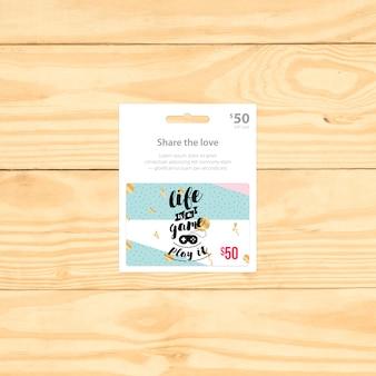 Diseño de mock up de tarjeta regalo