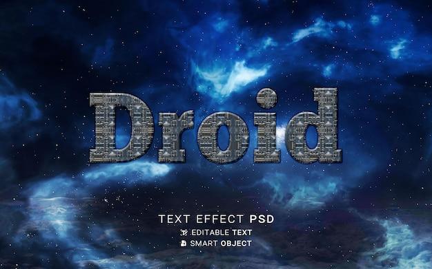 Diseño de droide con efecto de texto