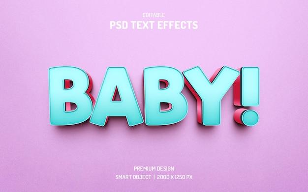 Diseño de efecto de estilo de texto de bebé 3d