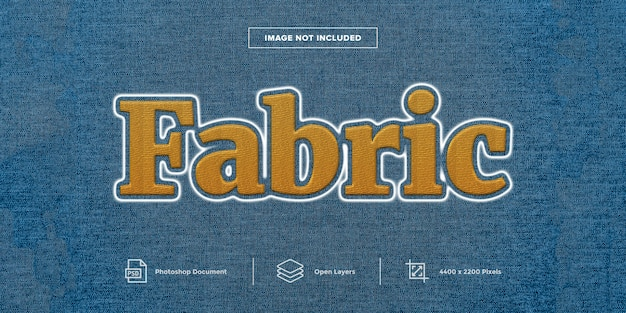 Diseño de efecto de texto de bordado de tela estilo de capa