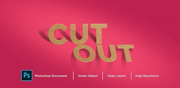 Diseño de efecto de texto de corte de papel marrón