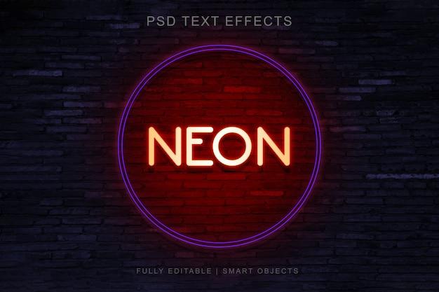 Diseño de efecto de texto de estilo círculo de neón