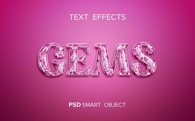 Diseño de efecto de texto de gemas
