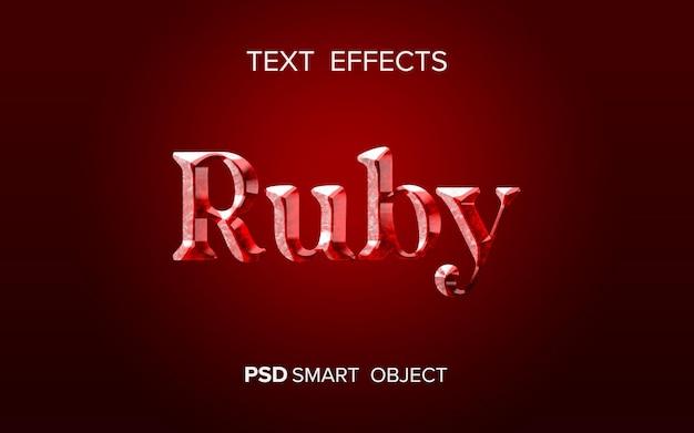 Diseño de efecto de texto rubí