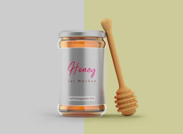 Diseño de etiqueta de tarro de miel de maqueta