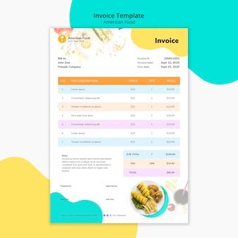 Diseño de factura comida americana
